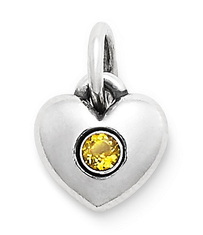James Avery Keepsake Heart Charm November Birthstone with Citrine