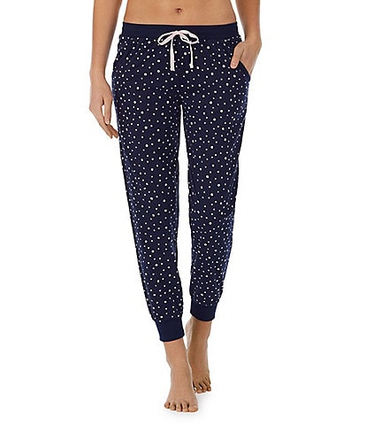 Jane & Bleecker New York Dot Print Knit Jogger Sleep Drawstring Pants