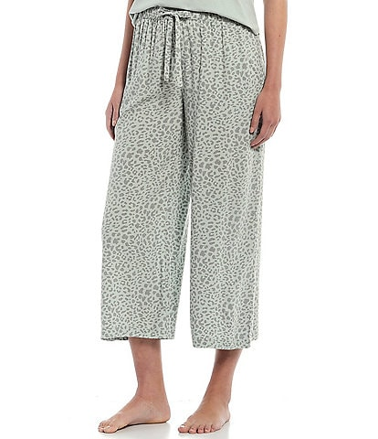 Jasmine & Ginger Animal Print Cropped Wide-Leg Woven Sleep Pants