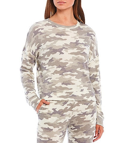 Jasmine & Ginger Camouflaged Print Brushed Knit Sleep Top