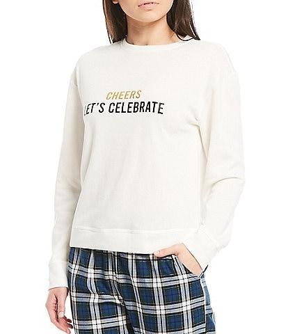 Jasmine & Ginger Cheers Let's Celebrate Crew Neck Fleece Sweatshirt