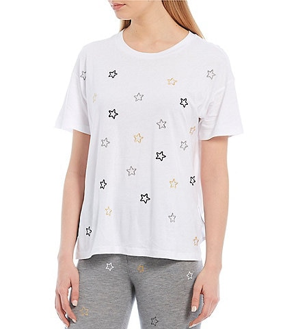 Jasmine & Ginger Embroidered Stars Print Washed Jersey Knit Sleep Tee