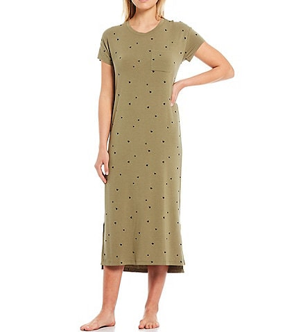 Jasmine & Ginger Heart Print Baby Terry Midi Lounge Dress