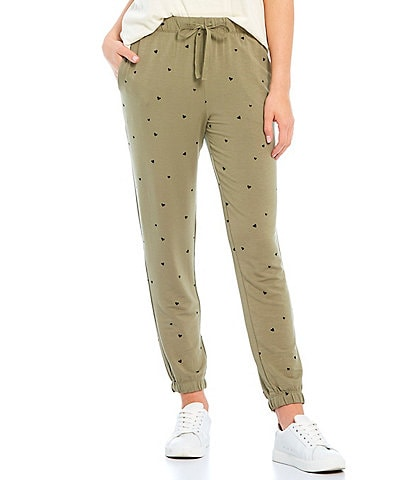 Jasmine & Ginger Heart Print French Terry Lounge Jogger Pants