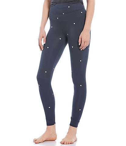 Jasmine & Ginger Heart-Printed Washed Jersey Sleep Leggings