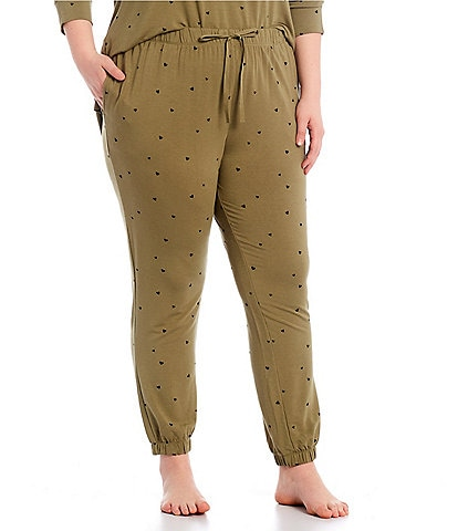Jasmine & Ginger Plus Heart Print French Terry Lounge Jogger Pants