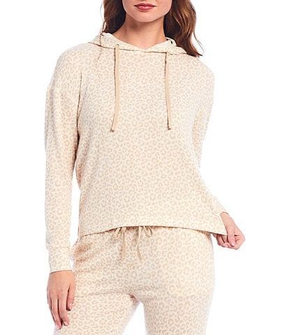 Jasmine & Ginger Small Leopard Print Brushed Knit Hoodie Lounge Top