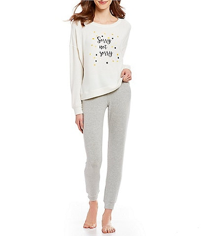 Jasmine & Ginger #double;Sorry Not Sorry#double; Screen Print Brushed Knit Pajamas