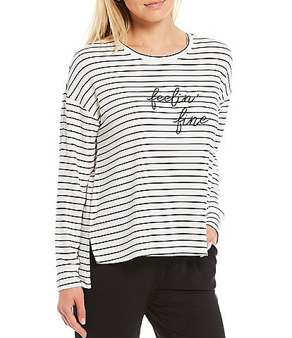 Jasmine & Ginger Striped Yarn-Dye #double;Feelin' Fine#double; Screen-Print French Terry Lounge Sweatshirt