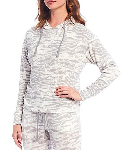 Jasmine & Ginger Zebra Print Brushed Knit Hooded Pullover Lounge Top