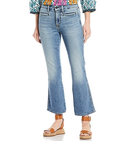 JEN7 by 7 for All Mankind Cropped Flare Leg Straight Hem Kick Jeans