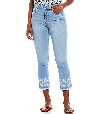JEN7 by 7 for All Mankind Embroidered Frayed Hem Straight Leg Ankle Jeans