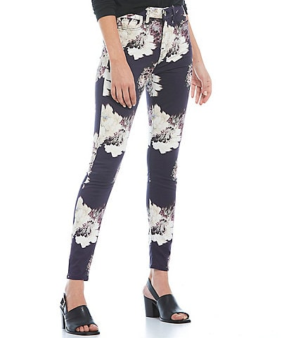 JEN7 by 7 For All Mankind Stretch Sateen Floral Print Mid-Rise Skinny Jeans