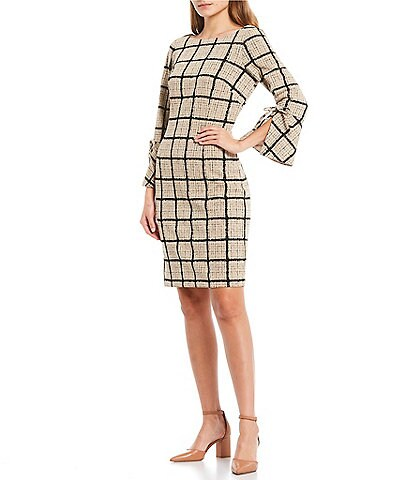 Jessica Howard 3/4 Bell Sleeve Plaid Sheath Dress