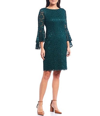 Jessica Howard 3/4 Bell Sleeve Scalloped Hem Lace A-Line Dress