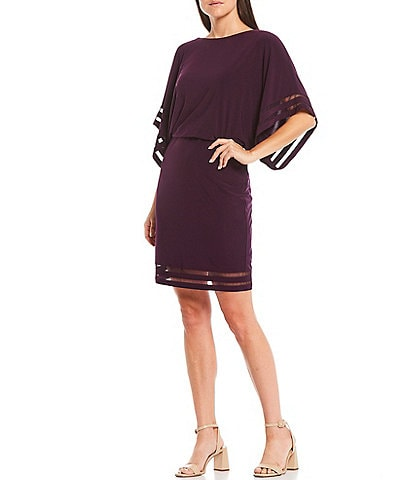 Jessica Howard 3/4 Dolman Sleeve Illusion Mesh Blouson Dress
