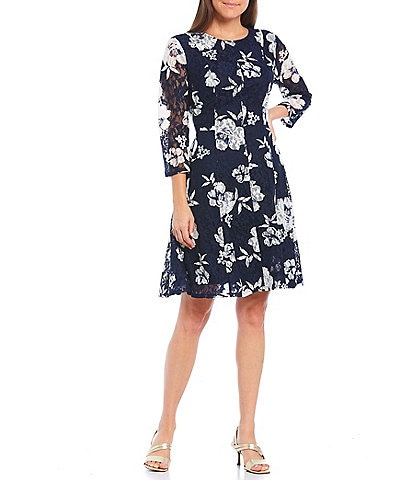 Jessica Howard 3/4 Illusion Sleeve Floral Print Lace A-Line Dress