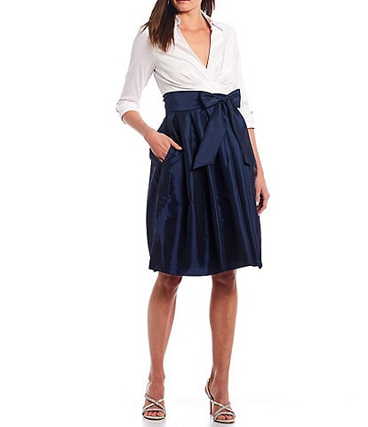 Jessica Howard 3/4 Sleeve Collared Pleat Tie Front Dress