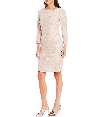 Jessica Howard 3/4 Sleeve Glitter Metallic Knit Shift Dress
