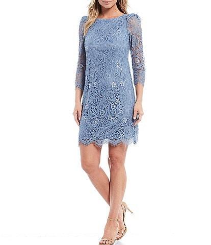 Jessica Howard 3/4 Sleeve Lace Puff Shoulder Sheath Dress