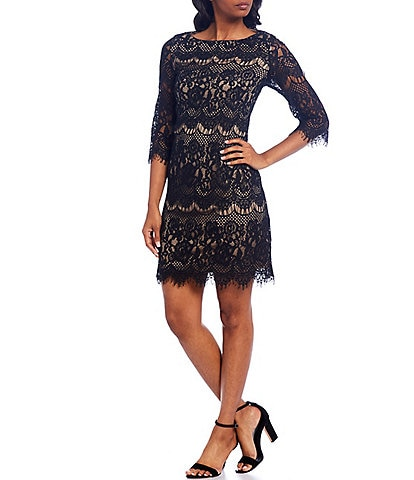 Jessica Howard Boat Neck 3/4 Sleeve Scalloped Lace Shift Dress