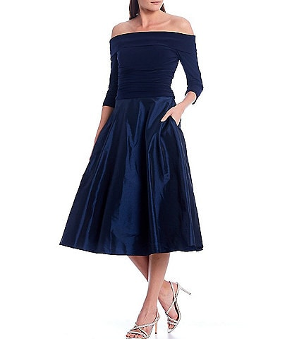 Jessica Howard 3/4 Sleeve Off-The-Shoulder Fold Collar Ruched Waist Midi Dress