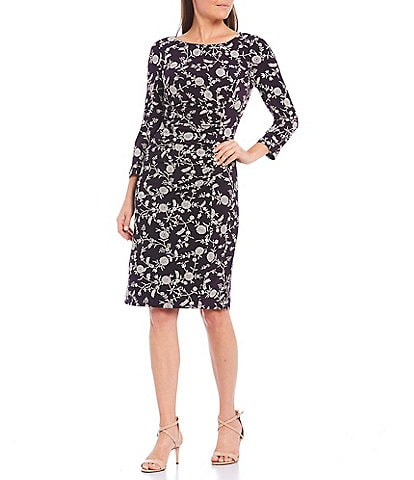 Jessica Howard 3/4 Sleeve Side Ruched Floral Printed Jersey Sheath Dress