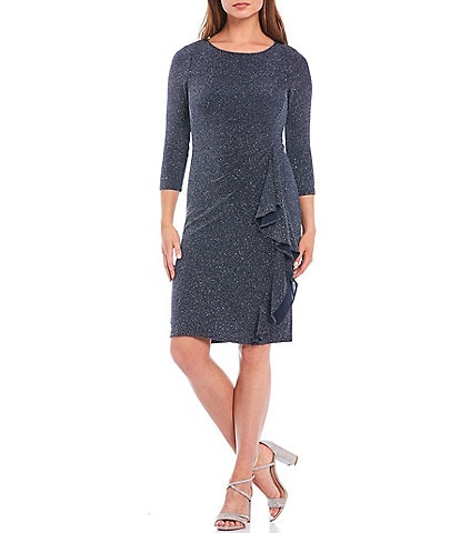 Jessica Howard 3/4 Sleeve Side Tuck Cascade Ruffle Metallic Sparkle Knit Sheath Dress