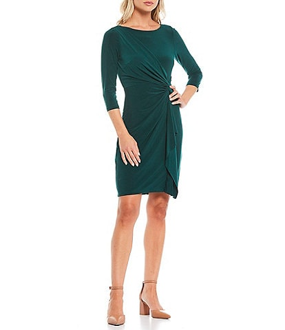 Jessica Howard 3/4 Sleeve Side Twist Cascade Ruffle Detail Sheath Dress