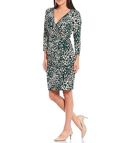 Jessica Howard 3/4 Sleeve Side Twist Faux Wrap Printed Sheath Dress