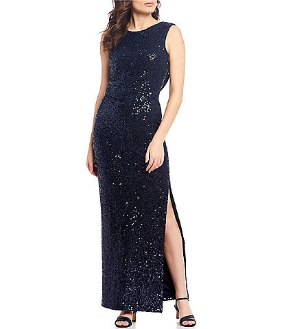 Jessica Howard All Oover Sequin Side Ruched Drape Back Sleeveless Gown