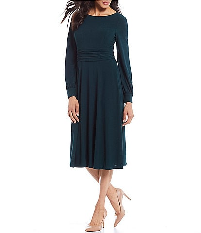 Jessica Howard Balloon Sleeve Ruched Waist Soft Crepe A-Line Midi Dress