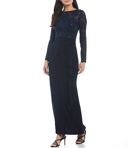 Jessica Howard Boat Neck Long Sleeve V-Back Lace Bodice Jersey Knit Sheath Gown