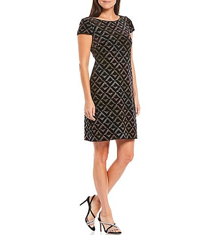 Jessica Howard Cap Sleeve Diamond Print Glitter Velvet Sheath Dress