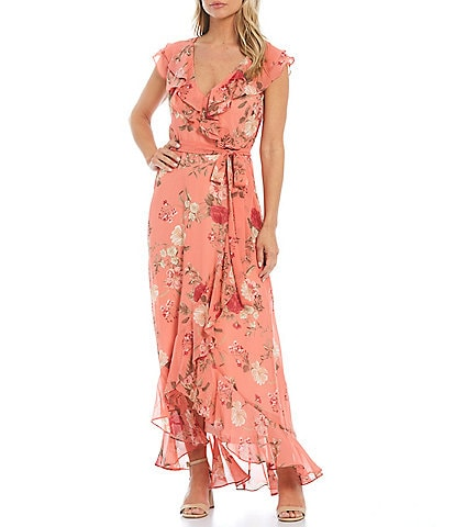 Jessica Howard Cap Sleeve Ruffle Wrap Hi-Low Maxi Dress