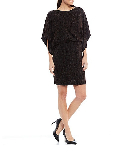 Jessica Howard Dolman Sleeve Metallic Stripe Knit Blouson Dress