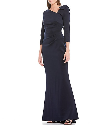 Jessica Howard Elbow Sleeve Asymmetrical Neck Side Tuck Gown
