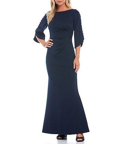 Jessica Howard Embellished 3/4 Sleeve Side Tuck Scuba Boat Neck Sheath Gown