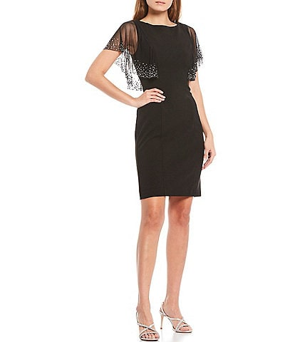 Jessica Howard Embellished Caplet Sleeve Sheath Dress