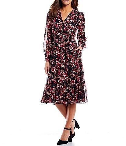 Jessica Howard Floral Chiffon Surplice V-Neck Smocked Waist Long Sleeve Midi Dress