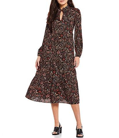 Jessica Howard Floral Paisley Print Ruffle Split Mock Neck Long Sleeve Tiered Midi Dress