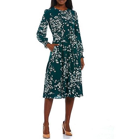 Jessica Howard Floral Pebble Crepe Long Sleeve Tie Waist Crew Neck Midi Dress