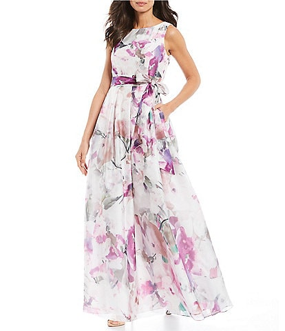 Jessica Howard Floral Print Sleeveless Pleated Gown