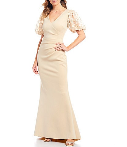 Jessica Howard Floral Puff Sleeve Scuba Gown