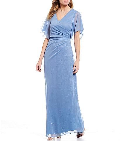 Jessica Howard Flutter Sleeve Ruched Glitter Matte Jersey Chiffon Gown