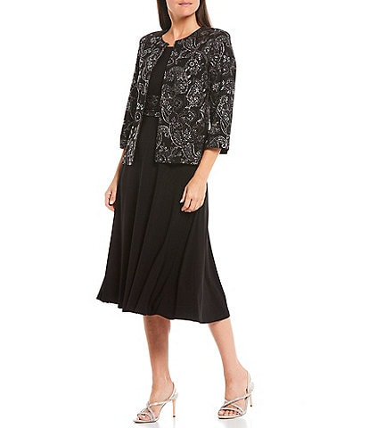Jessica Howard Glitter Paisley Print Puff Jersey 2-Piece Jacket Dress