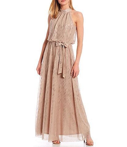 Jessica Howard Halter Neck Blouson Tie Sash Metallic Chiffon Gown
