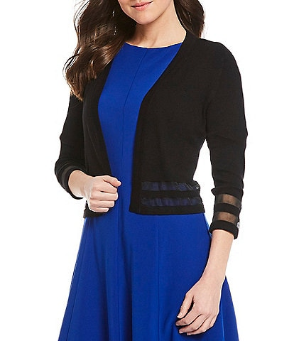 Jessica Howard Illusion Cutout 3/4 Sleeve Bolero Sweater Cardigan