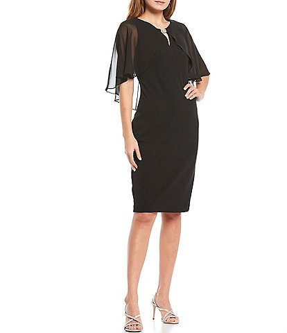 Jessica Howard Keyhole Neck Rhinestone Bar Detail Capelet Crepe Chiffon Sheath Dress