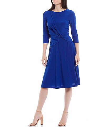 Jessica Howard Knot Front 3/4 Sleeve Knit Jersey Midi Dress